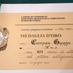 Medaglia d'oro per 101 anni di attività Campari